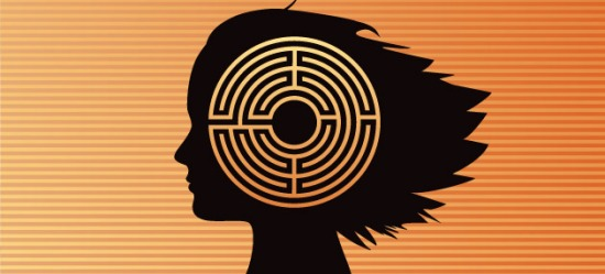Illustration of maze over young girl's brain