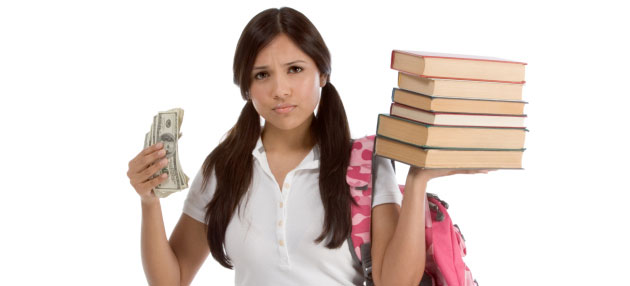 Student with books in one hand and money in the other