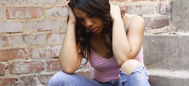 Homeless African American woman