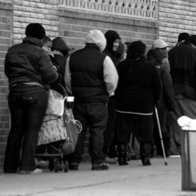 People standing in an unemployment line
