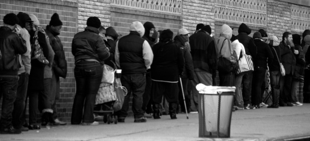 People waiting in an unemployment line