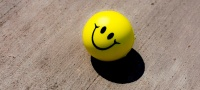 Stress ball with a smiley face