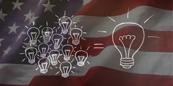 Lightbulb ideas over American flag