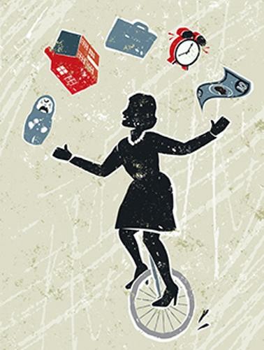 Woman on unicycle balancing life responsibilities