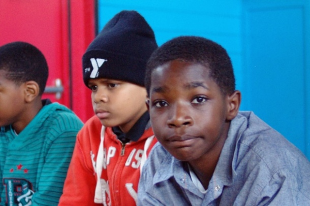 African American kids at the school gym