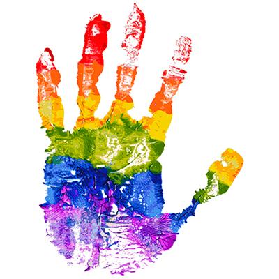 Gay and LGBT rainbow colors hand shape. Handmade. Textured, made