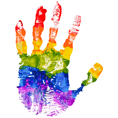 Gay and LGBT rainbow colors hand shape. Handmade. Textured, made