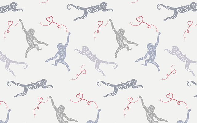 Vector pattern with monkeys and hearts