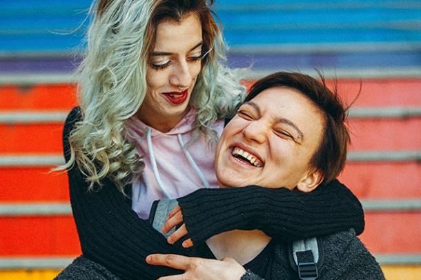 Urban lesbian couple enjoy